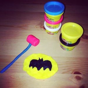 Superhero Symbols out of Play Doh